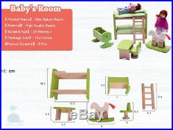 Latest 2018 Wooden Furniture Dolls House Baby Nursery Room Set Miniature No Doll