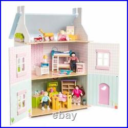 Le Toy Van Wooden Dolls House Blue Bird Cottage with Furniture