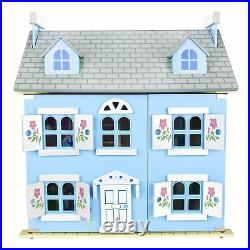 Leomark Blue Wooden Doll House Three Storey With Furniture + Dolls Kids