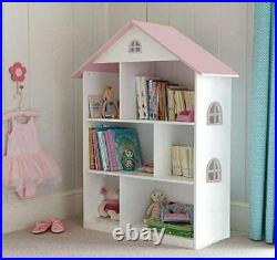 Liberty House Toys Wooden Dollhouse Bookcase Roof, Wood, White/Pink, 106.5cm H x
