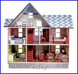 Melissa Doug Victorian Wooden Dollhouse Miniature Dolls House Kit Girl Toy Scale