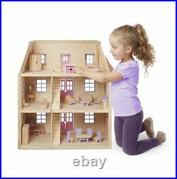 Melissa & Doug Wooden Deluxe Multi-Level Doll house & Furniture NEW