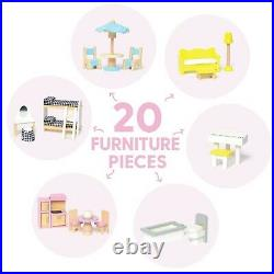 Milliard Wooden Doll House, Includes 20 Furniture Pieces Large Three Level