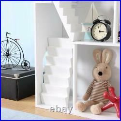 Modern Wooden Dolls House, Large Three Level Dollhouse for Kids Bookshelf Gift