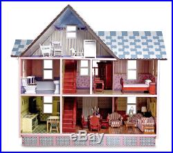New Wooden Dollhouse With 4 Piece Doll Family Scale 112 For Play With Friends