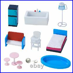 Olivia's Little World Kids Wooden Dollhouse Barcelona Mint & Furniture TD-13111D