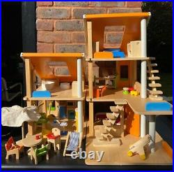PLAN TOYS Wooden Chalet Doll House 7141 with furniture age 3+years