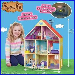 Peppa's Wooden Playhouse Peppa Pig Doll House & Wooden Figures Sustainable Toy