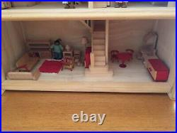 Plan Toys Wooden Dolls House (Victorian) with dolls and furniture