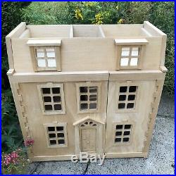 Plan toys Large Wooden Georgian Dolls House and loft Extension VGUC
