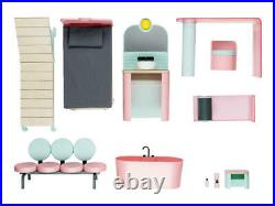 Playtive Wooden Premium Dolls House With 15 Pieces of Furniture 3 Floors 108cm