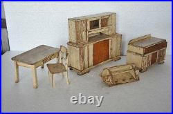 Rare 4 Pc Set Of Old Wooden Handcrafted Baby Doll House Furniture, Germany