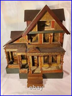 Rare Large Antique R. Bliss Seaside Wooden Dollhouse Lithograph Wood Doll House