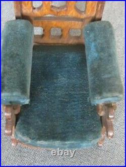 Rare Set Antique Wooden Velvet Dolls House Furniture Chaise Longue Chairs x 9