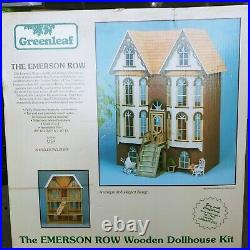 Rare VTG Greenleaf The Emerson Row Victorian Wooden Doll House + Furniture Kit