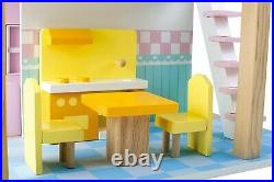 Small Foot Doll's House Blue Roof 2 Levels rotatable 3110 Doll Toy Wood Wooden