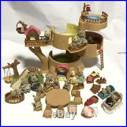 Sylvanian Families Wooden House Tree Stump 19 Dolls Set For Sale