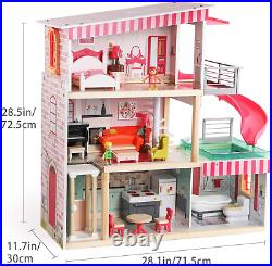 TOP BRIGHT Dolls House with Furniture and Dolls, Wooden Doll House for Girls 3