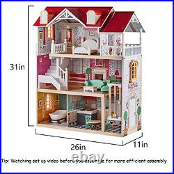 TOP BRIGHT Wooden Dollhouse with Elevator Dream Doll House for Little Girls 5