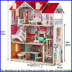 TOP BRIGHT Wooden Dolls House for Girls, Large Dollhouse Toy for Kids with and