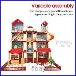 Tall Town Large Wooden Doll Houses Miniature Furniture Kit With Light Kids Toy