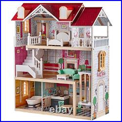 Top Bright Wooden Dollhouse with Furniture and Working Elevator Dream Doll House