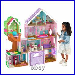 Treehouse Retreat Mansion Dollhouse Girls Kids Play Doll Wooden Toy Lights Sound