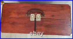 Very Rare 1950's WOODEN DOLLHOUSE IN TRAVEL CASE w BED CLOSET MIRROR 20x20x9 EX