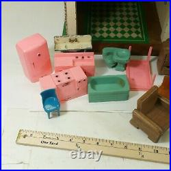 Vintage 1940s Keystone Wooden Doll House 2 Story With Furniture