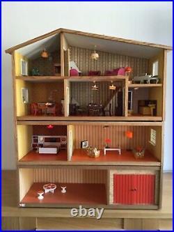 Vintage 1970s Swedish Gothenburg 4 storey wooden dolls' house