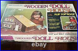 Vintage Brumberger Wooden Doll House With Furniture No. 754