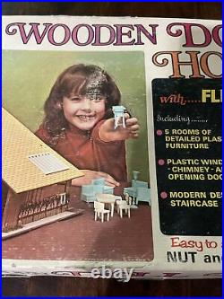 Vintage Brumberger Wooden Doll House With Furniture No. 754 Box