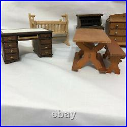 Vintage Doll House Wooden Furniture dresser table nightstand mixed Lot 15 pieces