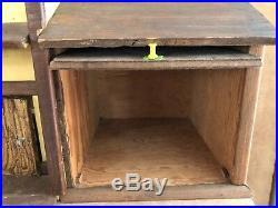 Vintage Handmade Dollhouse Folk Art yellow wood doll antique house wooden