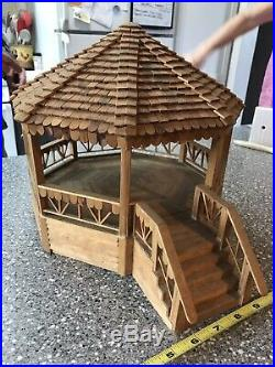 Vintage Real Hand made wooden Boxwood Doll Furniture Gazebo Christmas