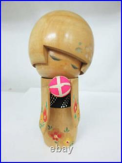 Vintage Sekiguchi Toua Wooden Kokeshi Doll A cute Bob hair girl in Kimono Sign
