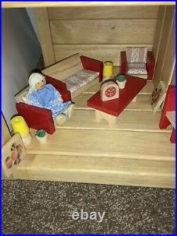 Vintage Wooden DollHouse + Furniture People Doll Bath Bed Kitchen Living 2 Story
