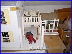 Vintage Wooden Dolls House, Furnished, Garage & Conservatory, Opens Front & Back