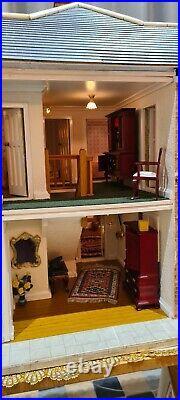 Vintage large Wooden dolls house, mansion, fully furnished, working lights/lamps