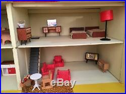 Vintage solid Wooden Dolls House with vintage furniture Made By Gee Bee