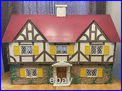 Vtg Keystone Doll House Large 5 Rooms Wooden 1940s