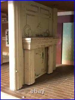 Vtg Keystone Dollhouse Large 6 Rooms Wooden 1940s