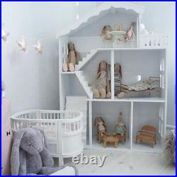 WODENY Dollhouse White Wooden Kids Bookshelf Bookcase 2020 Best Gift f/ Children