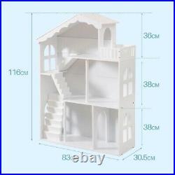 WODENY Dollhouse White Wooden Kids Bookshelf Bookcase Best Xmas Gift f/ Children