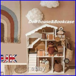 WODENY Dollhouse White Wooden Kids Bookshelf Bookcase NEW YEAR Gift f/ Children