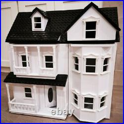 White Vintage Wooden Dolls House Victorian Cottage Wood Kids Dollhouse Toys Gift