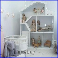 White Wooden Kids 3 Storey Doll House With Mansion Playhouse Toy furniture toys