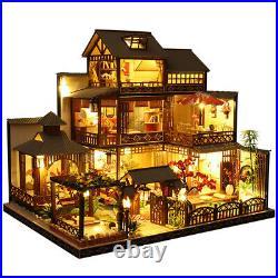 Wooden DIY Japanese Villa Doll House Miniature Kits Handmade Assemble Toy Decor
