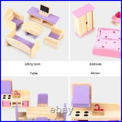 Wooden Doll House Assembly Villa Furniture DIY Miniature Model Toy Kid Xmas Gift