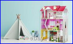 Wooden Doll House with Furniture & Lift Wood Toy Gift UK Kids Girls Fits Barbie